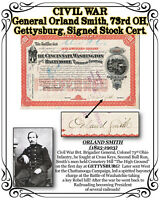 RARE CIVIL WAR General O. Smith, 73rd OH, Gettysburg, 1886 Signed Stock Cert.