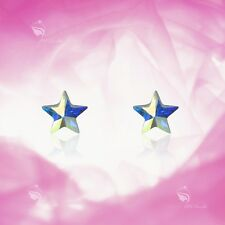 925 silver earrings made with Swarovski crystal star pentagram baby kids