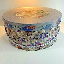 Hat Box Storage Floral Purple Make up Shoes Belts Scarves Vintage #B