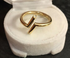 Extravaganter Brillantring runde Schiene 750er Gold Ring 2 Brillanten Gr. 54
