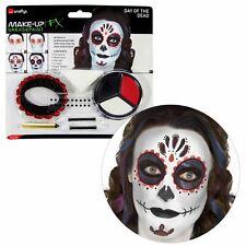 Ladies Kids Glitter Day of the Dead Skeleton Halloween SFX Makeup Kit Tattoo Gem