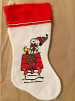 Vintage Snoopy Woodstock Peanuts Christmas Stocking Felt Red White Charlie Brown