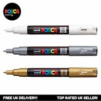 Uniball Posca PC-1M Paint Art Marker Pens - White + Silver + Gold (Set of 3)