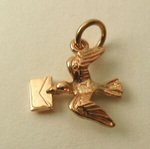 SOLID  9ct ROSE GOLD 3D BIRD with LETTER MESSAGE Charm/Pendant