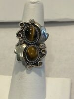VINTAGE NATIVE AMERICAN STERLING SILVER DOUBLE TIGER'S EYE FLASHY RING 6.5