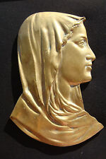 VIRGIN MARY MASSIVE BRONZE BEAUTIFULLY DETAILED SIGNED LF VINTAGE ICON