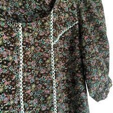Rare Vintage Next petite floral dress Brown flowers with lace trim UK Size 10