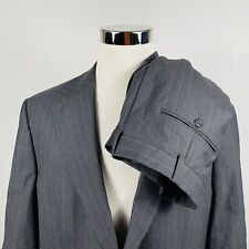 Brooks Brothers 42S Suit 34 x 27 Pleated Charcoal Pinstriped Wool Two Button