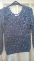 LADIES GEORGE HEAVY KNIT BLACK/SPARKLY JUMPER SIZE 14