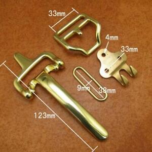 1 Set Vintage Brass Littleton Cavalry Belt Buckle Leather Craft Bag Clasp Buckle