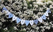 BLUE & WHITE CHRISTENING BANNER. HEART CHRISTENING BUNTING GARLAND,.