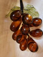 Vintage Large Amber Orange Brown Glass Grape Cluster & Leaves on Adjustable Wire