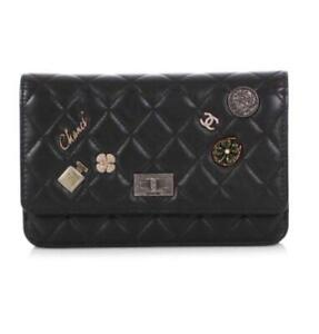 CHANEL BLACK L/E CASINO LUCKY CHARMS AGED CALFSKIN WALLET ON A CHAIN, IMMACULATE