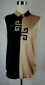 Jamie Sadock Size L Tan/Black 100% Cotton Sleeveless Golf Top/Blouse Zip Neck