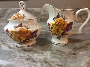 Grace's Teaware Creamer And Sugar Set Yellow Flowers. Gorgeous. New.