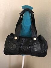 GUSTTO BLACK PATENT/EMBOSSED PYTHON/ LEATHER SATCHEL SHOULDER HANDBAG