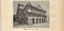 Stampa antica NAPOLI veduta del TEATRO SAN CARLO 1891 Old antique print