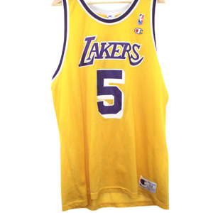 T195 Vintage Champion Los Angeles Lakers Robert Horry Jersey NBA Made in USA 52