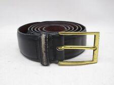 Mens Brighton Black Distressed Leather Belt Size 36 Gold Buckle