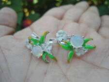 Natural OPAL & White CZ Stones Sterling 925 Silver Flower EARRINGS