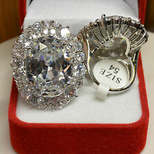Grosse Bague Ovale 35-25mm Marquise Diamant Cz Blanc Dolly-Bijoux T54-56-58