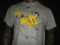 Nwt Men's M-XL Gray Distressed Pokemon Mad Pikachu Nintendo Anime Game Tee Shirt