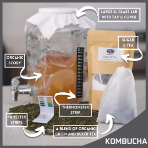 Kombucha Scoby 4L Deluxe Brewing Kit Organic, Everything you need! Free Shipping