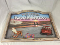 Beach House Wooden Sign Wall Art 3D