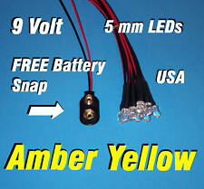 10 x LED - 5mm PRE WIRED LEDS 9 VOLT AMBER / YELLOW  PREWIRED 9V