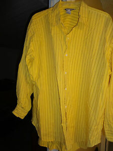 REED Long Sleeve Casual Dress Shirt Mens 14W 100% Cotton Yellow Blue White