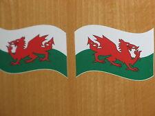 Welsh Bandera calcomanías X 2 Bicicletas Autos Motos 7 Cm X 4,5 Cm