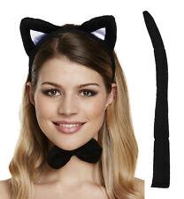 Cat Ears Headband, Bow tie & Tail Set Halloween Fancy Dress Hen Night Kitty