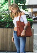 """Vintage Look Women  Genuine  Brown  Leather Tote Shoulder 14""""Bag Handmade Purse"""
