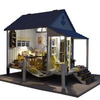 Dollhouse Miniature DIY Dolls House Furnitur+Light Happy Beach House Kids Gifts