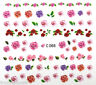 Nail Art Water Decals Transfers Pink Red Summer Flowers Roses Gel Polish (C066)