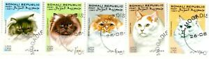 5 TIMBRES STAMPS SOMALIE THEME CHATS CATS.