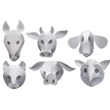 Roylco - Domestic Animal Mask - Easy Folding Paper Masks - White - Set of 30