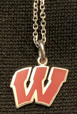 Wisconsin Badger Necklace, Silver, Adjustable 17.5 Inch Chain