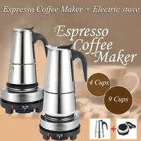 4/9 Cup Espresso Moka Coffee Maker Pot Percolator Stainless Steel Electric Stove