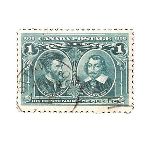 CANADA, SCOTT # 97, 1c. VALUE BLUE GREEN QUEBEC TERCENTENARY 1908 ISSUE USED