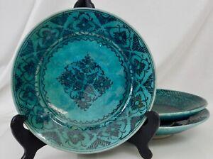 3 Islamic Persian Turquoise Glaze Ceramic Plates - 82485