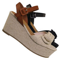 Twins03 Platform Wedge Linen Sandal - Women Bow Ankle Strap Summer Shoe