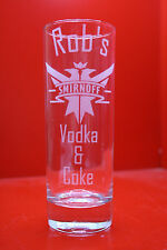 Laser Engraved Highball Names Smirnoff Vodka & Coke Lemonade Custom Personalise