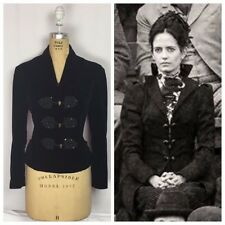Vintage Penny Dreadful Victorian Black Silk Velvet Steampunk Cheongsam Jacket.