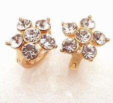 fashion1uk Simulated Diamond Sparkly Flower 18K Yellow Gold Plated Hoop Earrings