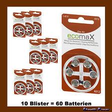 60 Stück ecomaX HÖRGERÄTE BATTERIE Typ 312 PR41 braun A312