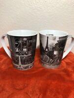 Two Coffee Mugs Paris France Eiffel Tower Opera Cafe Photo Cup Dora Papis GL283