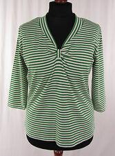 BETTY BARCLAY 3/4 Arm Damenshirt Stretch Shirt Hemd  grün-weiß gestr.  Gr. 46