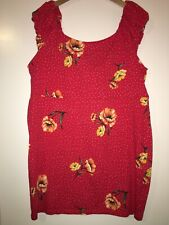 Forever 21 Plus Red With White Polkadot Yellow Floral Spring Knit Dress 3X