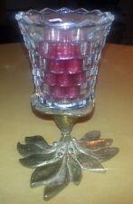 Vintage Brass Leaf Candle Holder Votive w Candle
